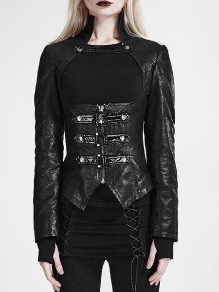 Black Lace Up Statement Cutout Cropped Jacket