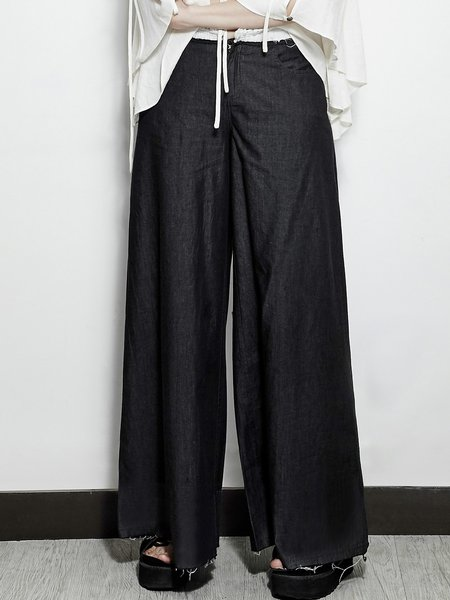 Black Casual Pockets Plain Wide Leg Pants