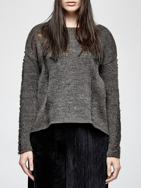 Gray Knitted H-line  Solid Casual Sweater