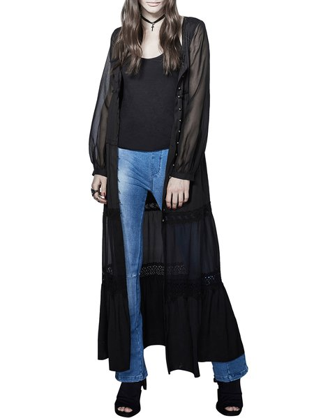 Black Plain Lace Paneled Casual Coat