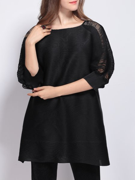 Casual Pleated Square Neck Solid Half Sleeve Tunic