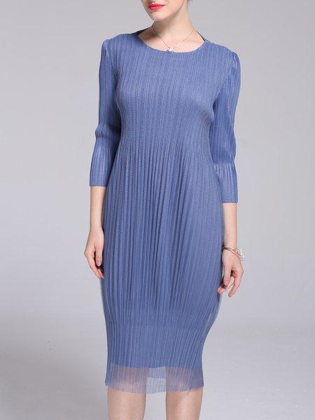 Blue Cocoon Pleated Solid 3/4 Sleeve Midi Dress