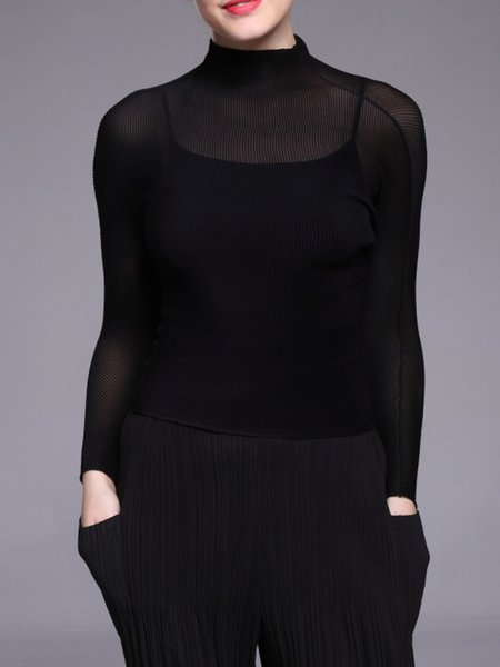 Sexy Stand Collar See-through Look Long Sleeve Solid T-Shirt