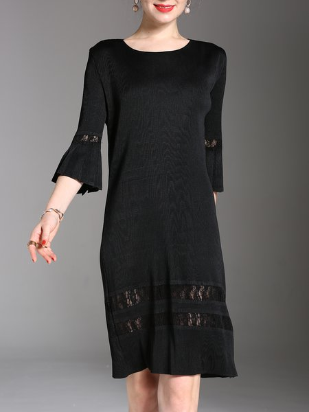 Black Polyester Elegant A-line Midi Dress