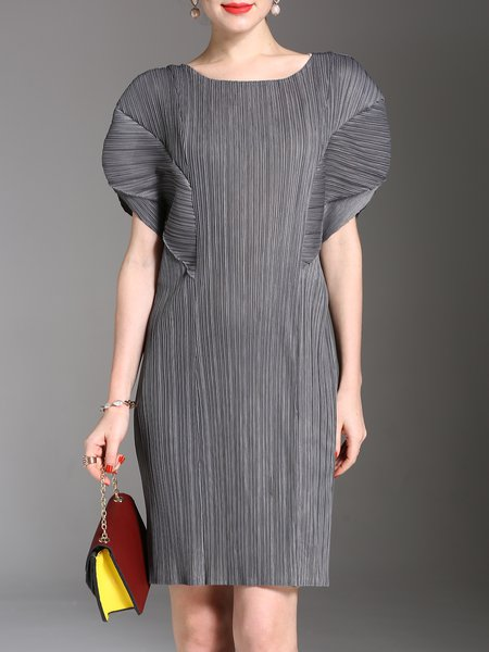 Gray  Short Sleeve Crew Neck Midi Dress