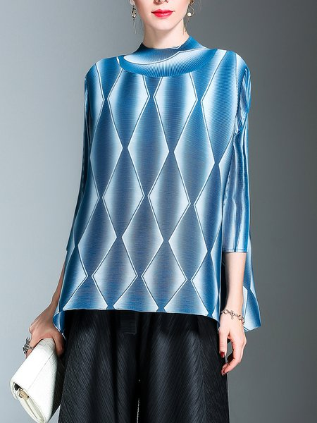 Blue 3/4 Sleeve Stand Collar Pleated Top