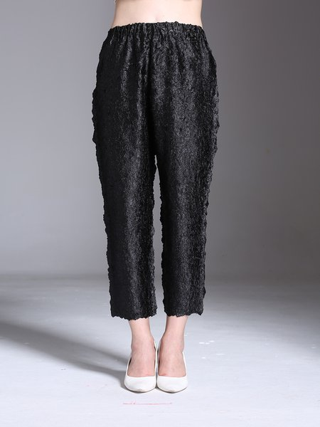 Black Polyester Solid Casual Straight Leg Pants