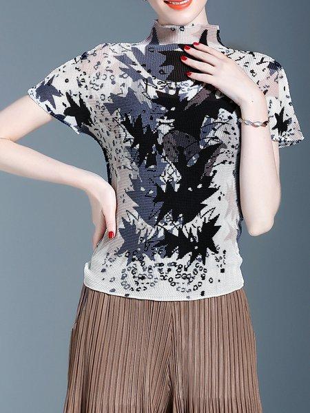 Shorts Sleeve Casual Printed Tops