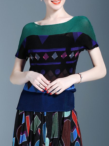 Crew Neck Short Sleeve Printed Casual Top