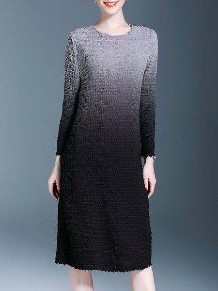 Black Crew Neck Casual Gradient Shift Midi Dress