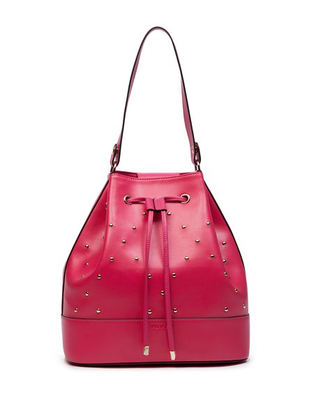 Fuchsia Casual Split Leather Drawstring Shoulder Bag