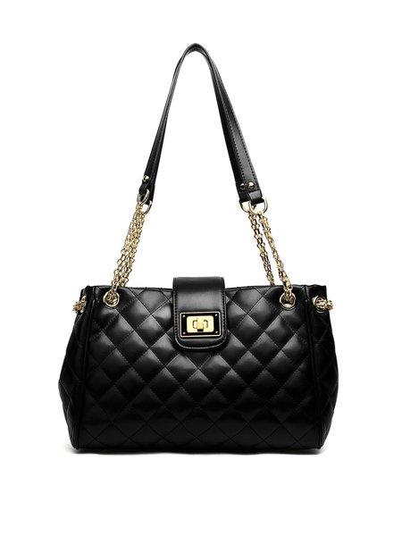 Black Twist Lock Split Leather Casual Shoulder Bag