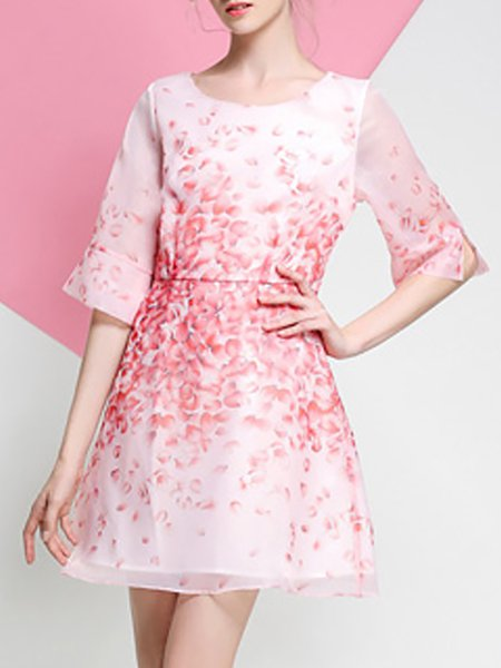 Pink Half Sleeve Floral Crew Neck Organza Midi Dress