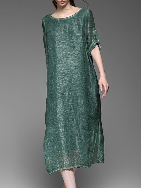 Green Slit Casual Midi Dress