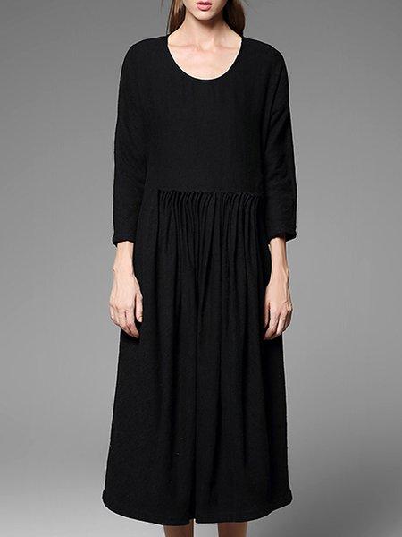 Black Crew Neck H-line Plain Midi Dress