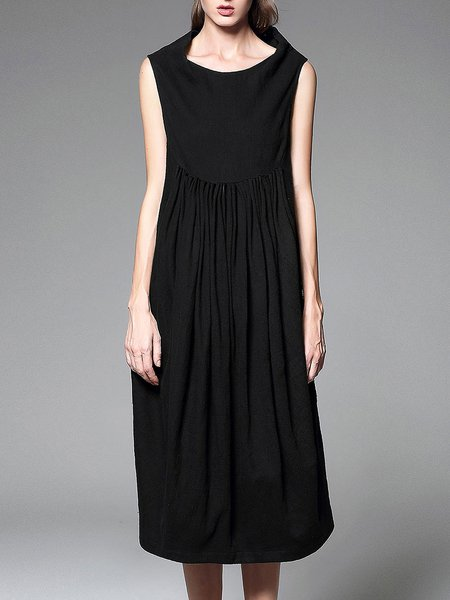 Black Plain Sleeveless H-line Midi Dress