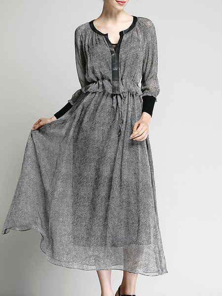 Gray Two Piece Silk Paneled Long Sleeve Maxi Dress