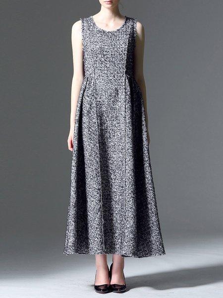 Gray A-line Sleeveless Paneled Maxi Dress