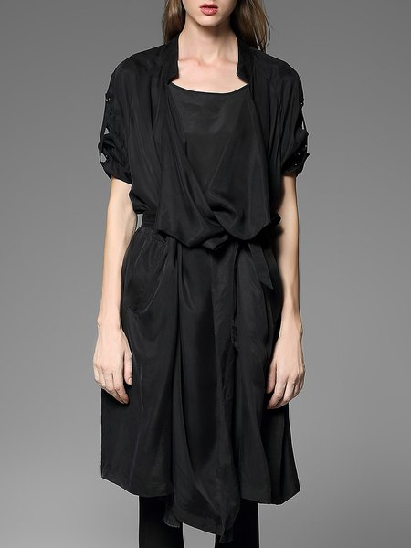 Black Asymmetric Pockets Casual Silk Midi Dress