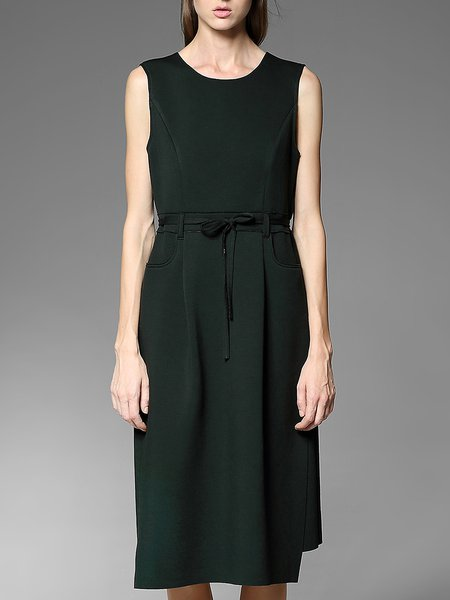Dark Green Pockets Elegant Midi Dress