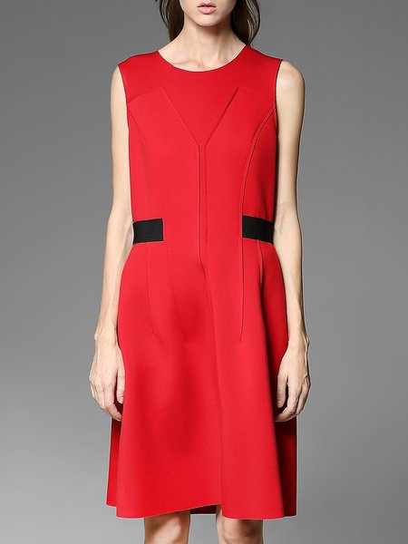 Red Pockets Shift Elegant Midi Dress