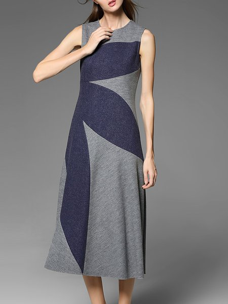 Blue Sleeveless Color-block Midi Dress