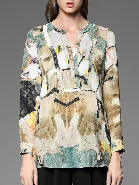 Casual H-line Long Sleeve Silk Printed Blouse