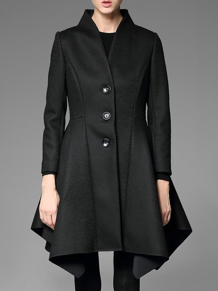 Black Asymmetrical Statement Stand Collar Coat