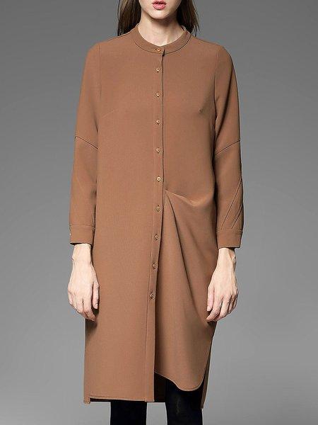 Khaki Simple Plain Slit Ruched Midi Dress