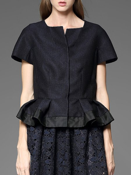 Dark Blue Ruffled Polyester Elegant Short Sleeved Top