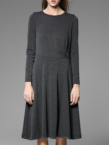 Deep Gray Long Sleeve Crew Neck Knitted Midi Dress