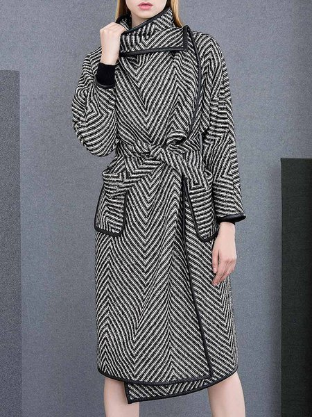 Black Stand Collar Long Sleeve Coat