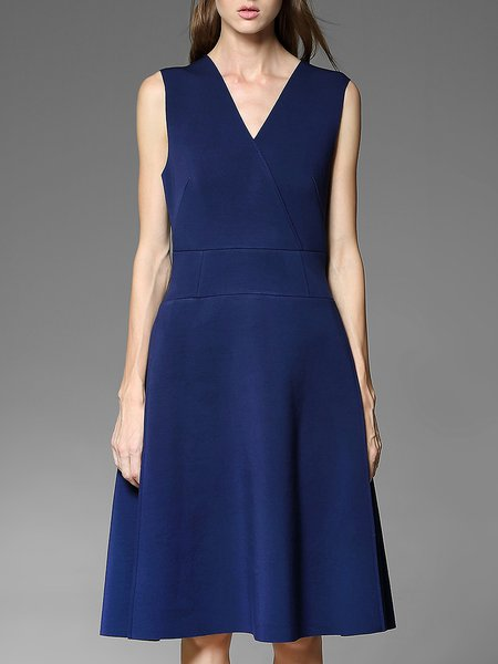 Royal Blue Simple A-line Midi Dress