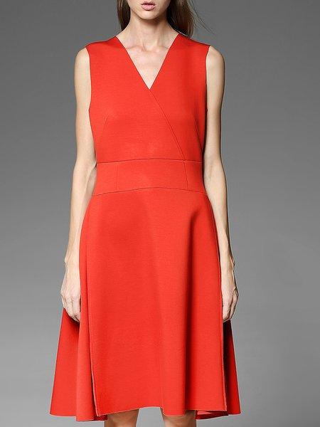 Orange Paneled V Neck Sleeveless Plain Midi Dress