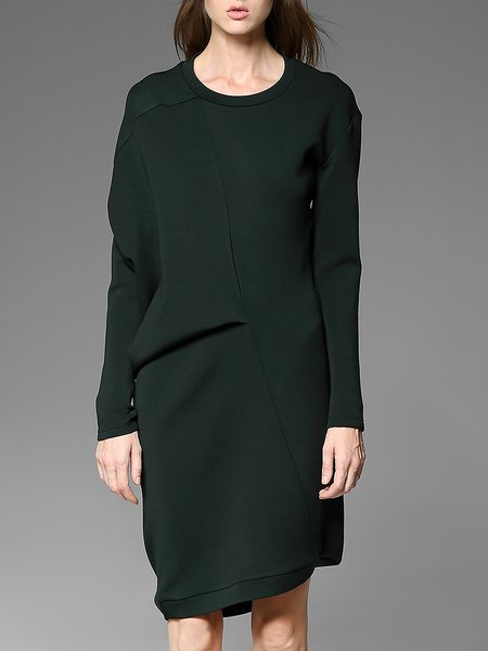 Dark Green Long Sleeve Asymmetrical Crew Neck Midi Dress