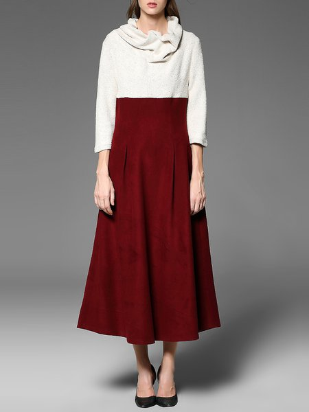 Red 3/4 Sleeve Cowl Neck Color-block Maxi Dress