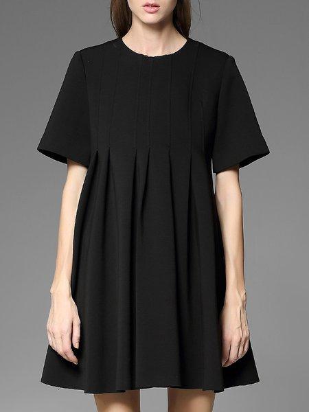 Black A-line Folds Plain Short Sleeve Mini Dress
