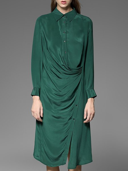 Green Ruched Long Sleeve Silk Shirt Dress