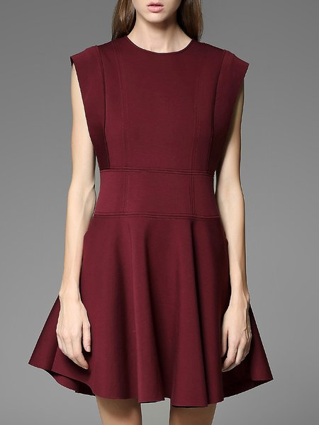 Red A-line Pockets Elegant Plain Mini Dress
