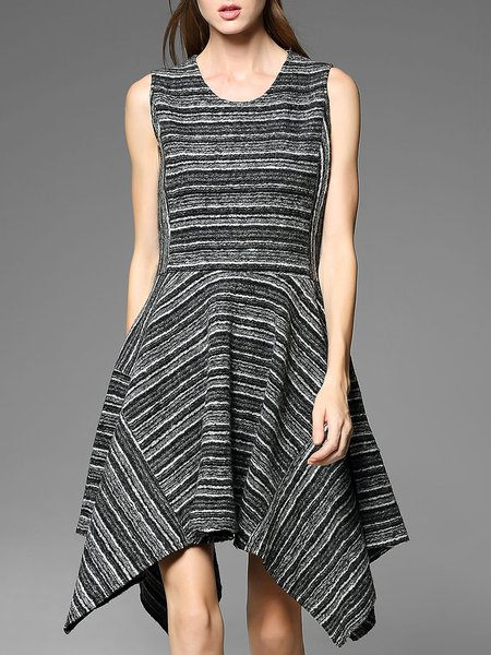 Black A-line Wool Stripes Elegant Asymmetric Midi Dress