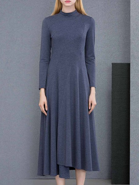 Blue Long Sleeve Asymmetric A-line Midi Dress