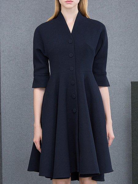 Dark Blue A-line 3/4 Sleeve Elegant Midi Dress
