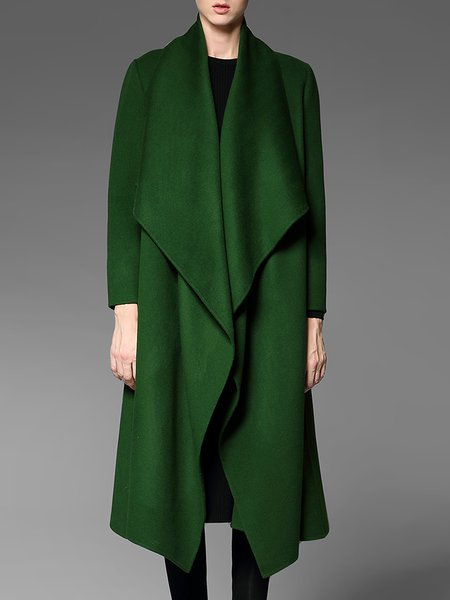 Green Casual Pockets Plain Wool Coat