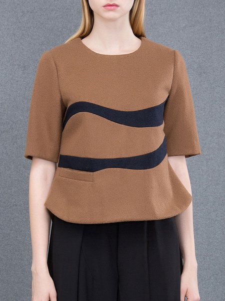 Coffee Casual Pockets Plain Wool Blend Cropped Top