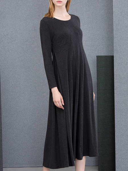 Deep Gray Casual Paneled Plain Midi Dress