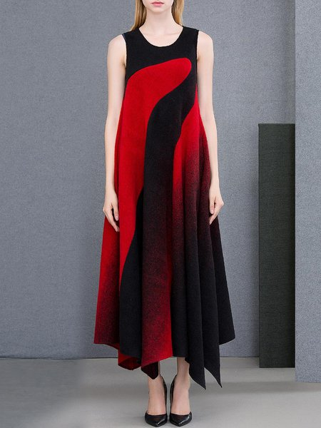 Red Wool Blend Casual Color-block Maxi Dress