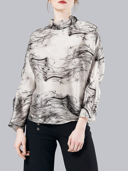 White Printed Silk Ruffled Long Sleeved Top