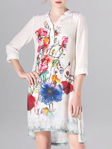 White Floral High Low Casual Midi Dress