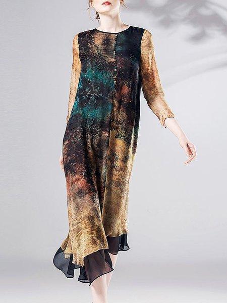 Multicolor Silk Asymmetric 3/4 Sleeve Midi Dress