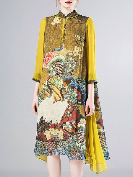 Yellow Vintage Printed Stand Collar Silk Midi Dress